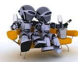 robots on a sofa drinking champagne