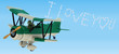 3D render of a tortoise skywriting with biplane