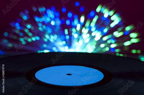 LP vinyl record and disco lights