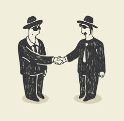 Illustration with a isolated businessmen shaking hands
