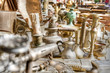 Brass antiques at a market stall. High dynamic range image. - 38871130