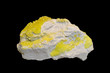 Sulphur crystals, isolated on black. Specimen about 8 cm long.