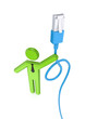 3d small person with a blue patchcord