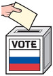 illustration of a ballot box with the flag of the russia