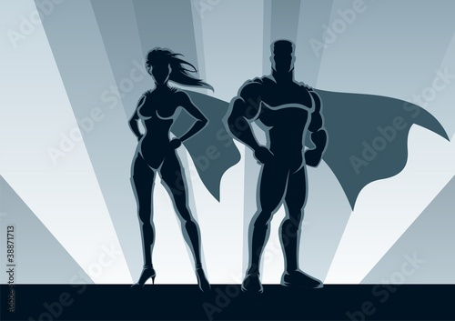 Tuinposter Superheroes Superhero Couple