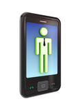 Modern mobile phone with 3d small person. poster