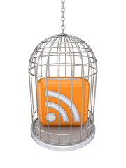 RSS sign in a birdcage.