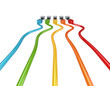 Colorful patch cords.