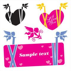 cupid banner. valentine's day banner vector set