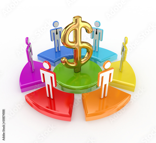 Colorful graph, dollar sign and 3d small people.