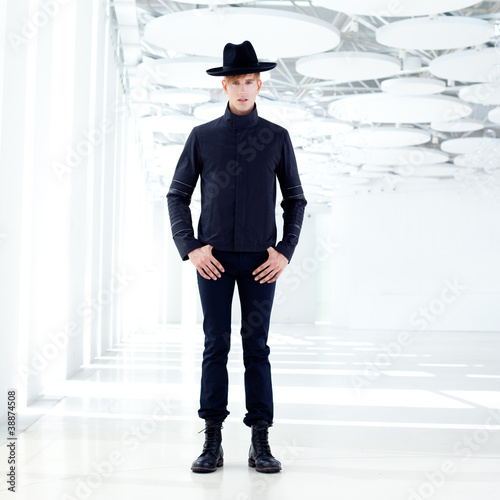 black far west modern fashion man with hat