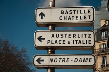panneaux indicateurs à Paris