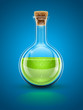 glass chemical flask with green toxic liquid and cork vector