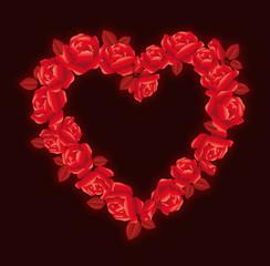 Cuore con rose rosse su fondo nero