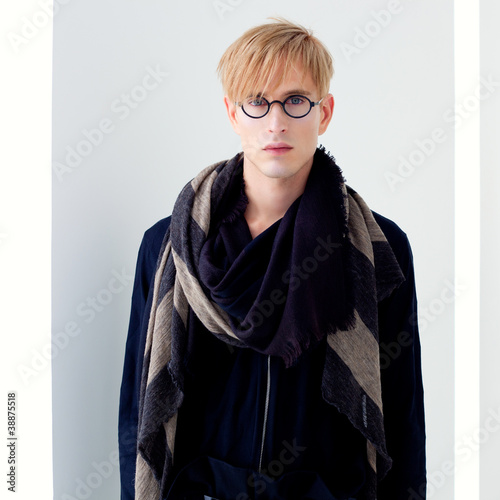 blond modern student man with nerd glasses