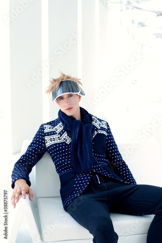 modern male model with futuristic sci-fi visor