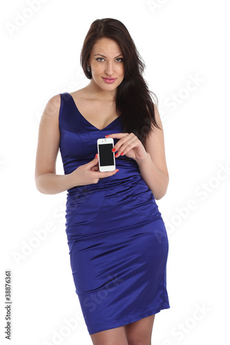 sexy woman in blue dress shows your phone