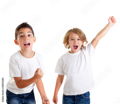 excited children kids happy screaming and winner gesture