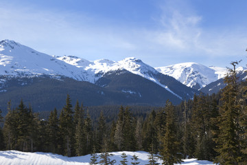 Moutains surrounding whistler olympic village