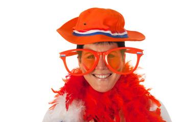 Dutch woman in orange as soccer fan