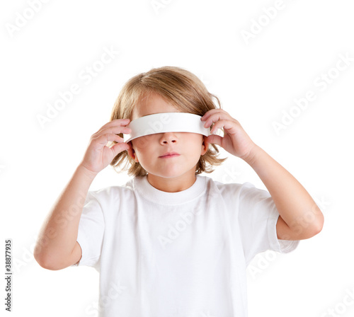 blindfolded children blond kid portrait isolated