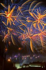 Fireworks over Edinburgh Castle, Scotland celebrating Hogmanay