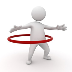 3d man playing hula hoop