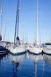 Blue sea boats moored in mediterranean marina