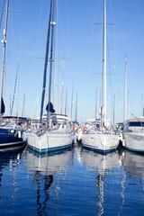 Blue sea boats moored in mediterranean marina