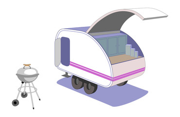 Teardrop trailer and retro grill