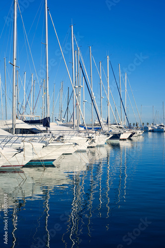 Blue Denia marina port in Alicante Spain