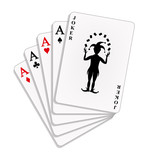 Playing cards - four aces and a joker