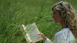Young woman reading a book in a meadow; Full HD Photo JPEG
