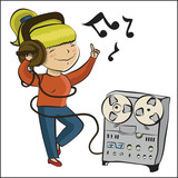 cartoon girl listen music and dansing