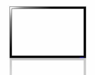 Black LED TV screen isolated on white background