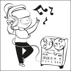 Girl listen music and dansing