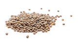 handful of brown lentils isolated on white background