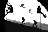 Climbers and skiers silhouettes,vector file