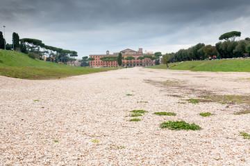 panorama of antique Circus Maximus on Palatine in Rome