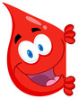 Happy Red Blood Drop Looking Around A Sign