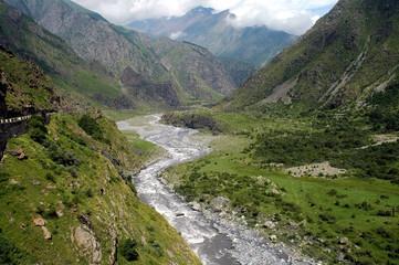 Georgian Military Highway, Caucasus,between Georgia and Russia