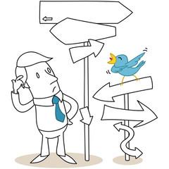 Geschäftsmann, Pfeile, Richtungen, Vogel
