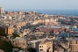 porto della città di Genova visto dai monti poster