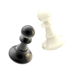 Collision of two black and white pawns