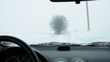 snow storm in the car
