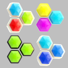 Set of four abstract emblems made of hexagons