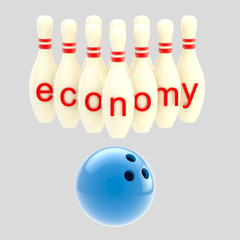 Economy conception as pins smashed by bowling ball