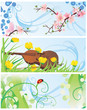 spring banners set with blossom tree, violin, flowers and ladybi