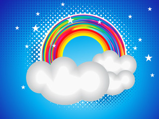 abstract rainbow card with cloud