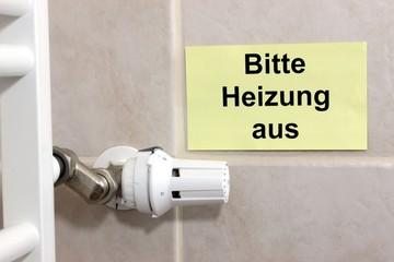 """Schild """"Bitte Heizung aus"""" mit Thermostat"""